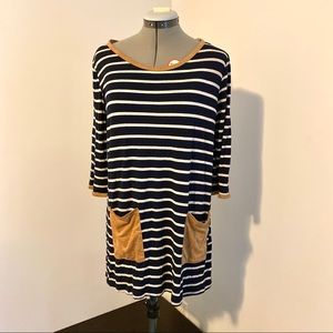 Pinkblush tunic top striped elbow patch pockets L